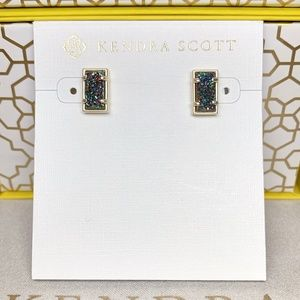 New Kendra Scott Paola Gold Multicolor Drusy Stud